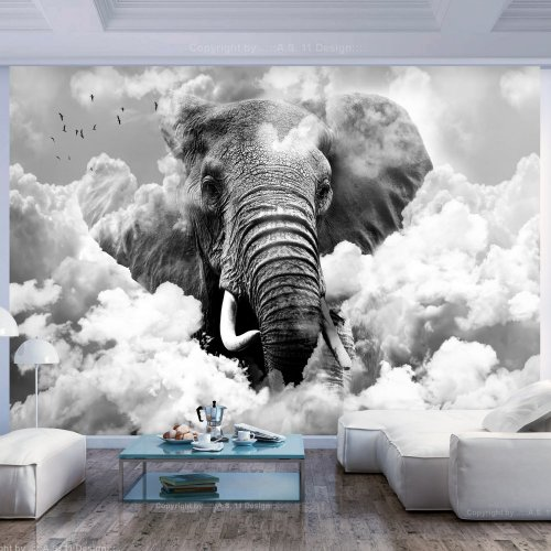 Fototapeta - Elephant in the Clouds (Black and White)